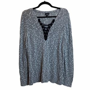 Torrid Marled Gray Lace Up Front Sweater Pullover